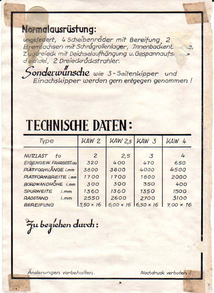 Schlepper - Technisches Datenblatt